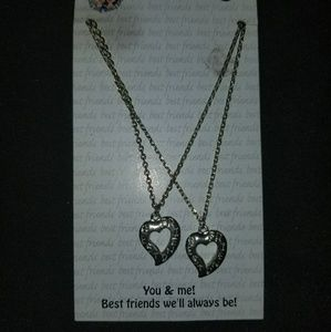 Other - Set of best friends necklaces open heart